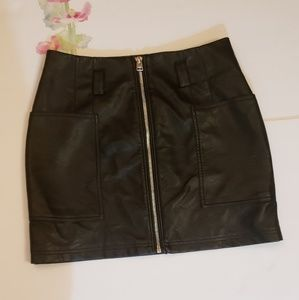 Topshop Black Faux Leather Skirt